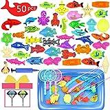 Hook 50 Pièces CanneaPecheEnfantJouet, JouetPeche Peche Magnetique Enfant, Jeux de Bain Enfant Fille Garcon 3 Ans et Plus,2X Parachute Jouet (Rouge)
