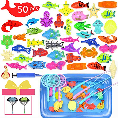 Hook 50Pcs Fishing Game Angelspiel Kinder, Garten Kinder Spielzeug, Angelspiel Wasser Badewanne ab 3 Jahren Wasserdichtes Schwebendes Pool Spielzeug in der Badewanne Lernspielset zum Angelnlernen