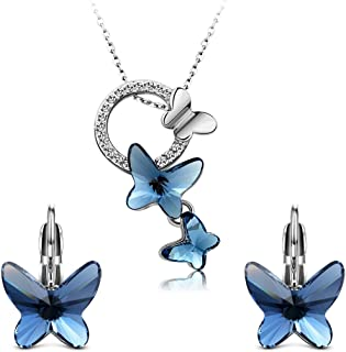 Yellow Chimes Authentic Crystals from Swarovski Designer Pendant Set Jewellery for Women & Girls. Perfect Valentines Gift!
