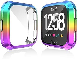 Fitbit Versa Screen Protector Case, JZK Scratch-Resistant Flexible Lightweight Plated TPU Fullbody All-Around Protective Case for Fitbit Versa Smart Watch Accessories