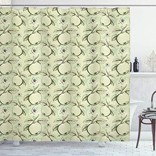 ABAKUHAUS Apfel Duschvorhang, Weinlese-Abstrakter Grunge, mit 12 Ringe Set Wasserdicht Stielvoll Modern Farbfest & Schimmel Resistent, 175x180 cm, Olivengrün Hellgrün