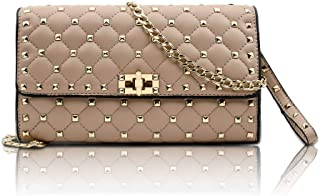 Olyphy Designer Quilted Shoulder Bag for Women,Rivets Chain Purse, Leather Top Handle Lingge Handbag