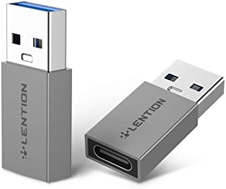 محول USB-C انثى الى USB-A ذكر (قطعتان) من لينتيون، محول شاحن من النوع سي الى النوع ايه، متوافق مع اجهزة اللابتوب والباور ب...