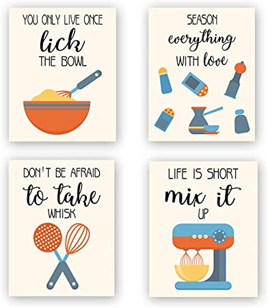 Amazon Com Chditb Unframed Funny Kitchen Wall Art Print Colorful Inspirational Quotes Canvas Poster Set Of 4 8 X10 Farmhouse Style Painting Cooking Artworks For Baking Room Restaurant Dining Room Decor Posters Prints