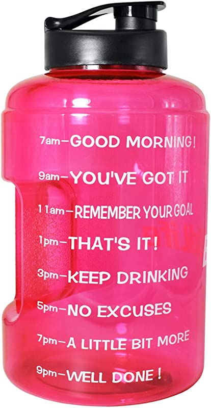 BuildLife 1 Gallon 128OZ 83OZ Sports Water Bottle Inspirational Fitness Workout Wide Mouth With Time Marker For Measuring Your H2O Intake BPA Free