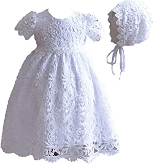 a71faea4e7592 Cinda Robe de baptême en Dentelle bébé avec Bonnet