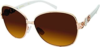 Southpole Women's 447sp-Gldwh Oval Sunglasses, Gold/White, 60 mm