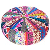 Eyes of India - 22 X 8 Colorful Round Ottoman Pouf Pouffe Cover Floor Seating Bohemian Accent Boho Chic Indian Handmade