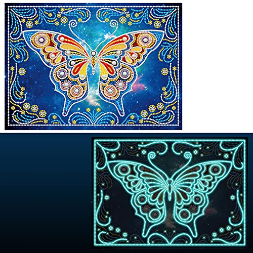 VUDECO DIY 5D Diamond Painting for Adults Full Drill Diamond Art and Painting Glow in The Dark Crystal Beads Butterfly Diamond Painting Kits for Adults Clearance Diamond Dots for Adults 11.8x15.7inch
