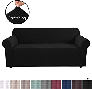 Stretch Slipcovers, Sofa Covers, Furniture Protector with Elastic Bottom, Anti-Slip Foams, 1 Piece Couch Shield, Polyester Spandex Jacquard Fabric Small Checks for 4 Seater(X-Large, Black)