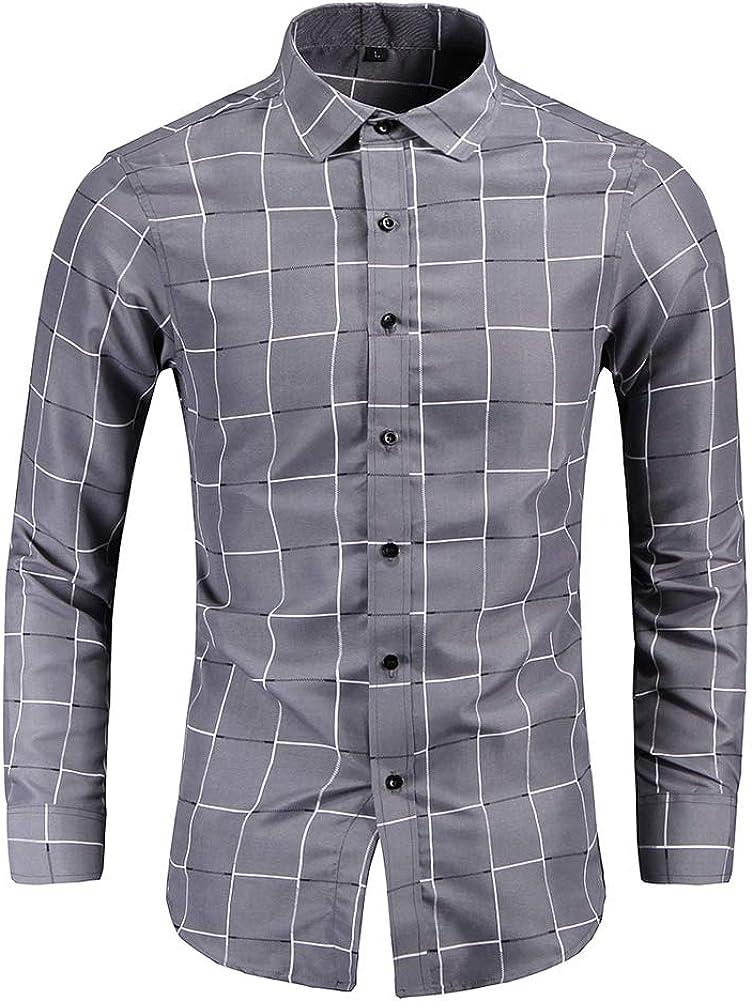 YYNUDA Men's Lapel Collor Plaid Shirts Slim Fit Long Sleeve Button Down Shirt