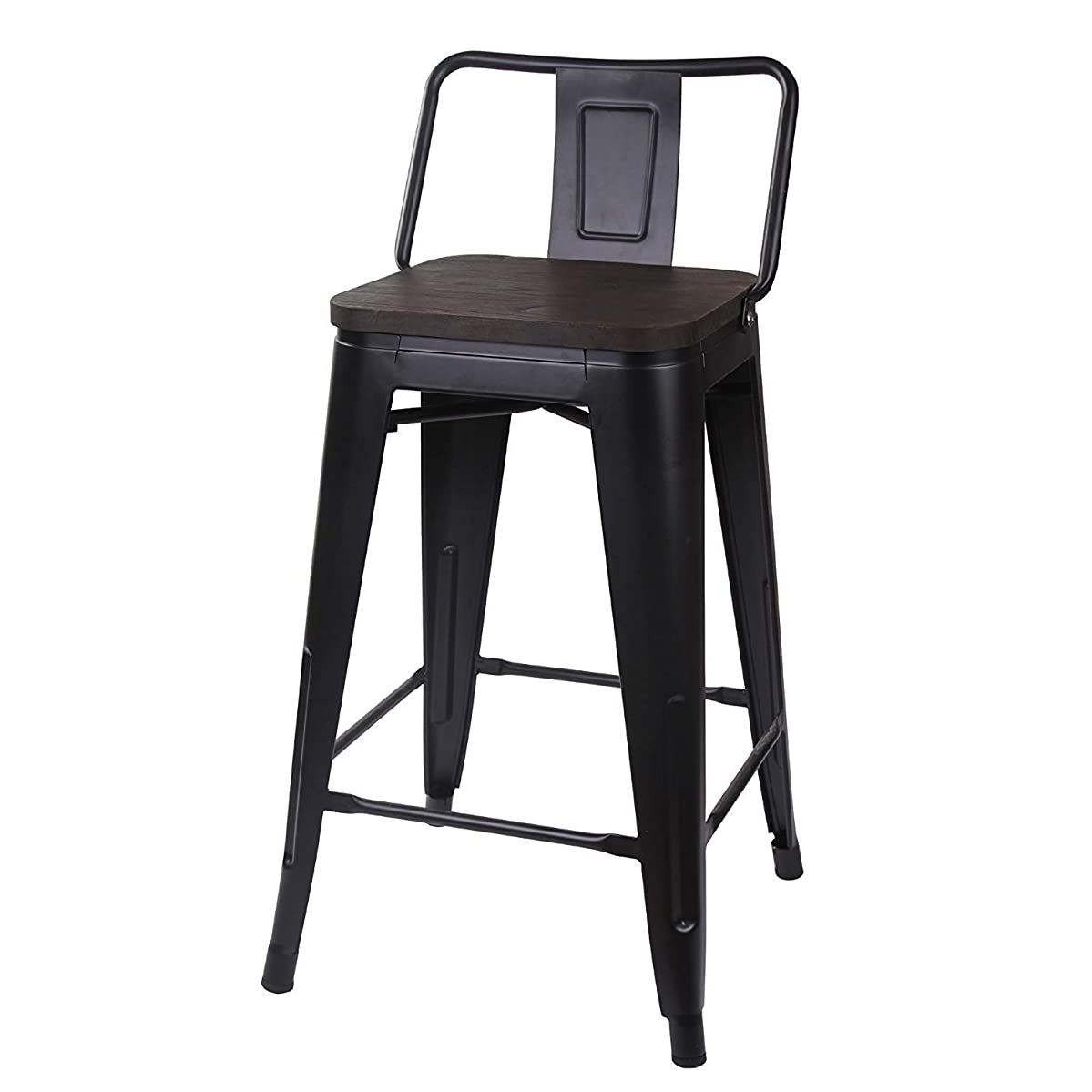 GIA 24-Inch Low Back Stool with Wooden Seat, Black/Dark Wood, 4-Pack