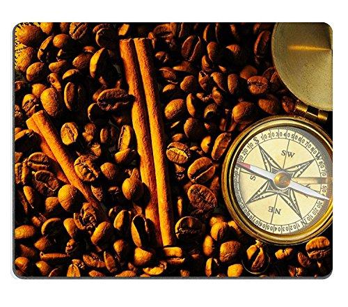 luxlady Gaming Mousepad Kaffee Bohnen und Zimt Stillleben mit Kompass Bild-ID 6823291