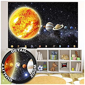 Kid's Room Nursery Photo Wallpaper – Solar System – Picture Decoration Planets Galaxy Cosmos Space Universe Sky Stars Earth Image Decor Wall Mural  82.7x55.1in - 210x140cm