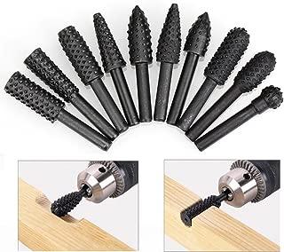 HDDU 10pcs/Set Twist Drill Bit Wood Carving File Rasp Drill Bits 1/4