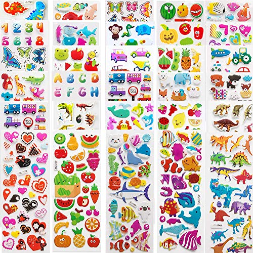 TOPHOPE Kinderaufkleber 900+, 30 Verschiedene Blätter, 3D Puffy-Aufkleber für Kinder, Sammelaufkleber für Mädchen, Jungen, Lehrer, Kleinkinder, einschließlich Tiere, Sterne, Fische, Herzen und mehr!