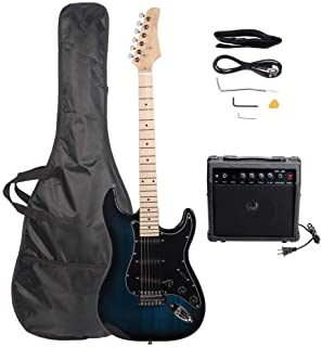 Best GLARRY Full Size Electric Guitar for Beginner with Amp and Accessories Pack Guitar Bag (Dark blue) Review