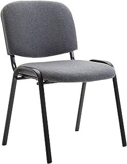 Chaise Visiteur Empilable Ken Tissu I Chaise de Reception Confortable avec Dossier Pieds en Métal Robuste I Couleur:, Coul...