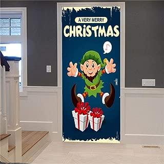 Self-Adhesive Privacy Glass Window Film,Christmas Door Stickers DIY Self-adhesive Wallpaper Wood Door Renovation Mural Decals For Doors DIY New Year Decoration Posters ( 30.3 x 78.7 Inch )