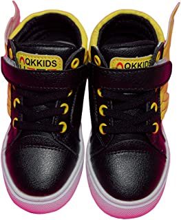 Hopscotch Little Maira PU Wings Glow in The Shoes for Boys and Girls - Black