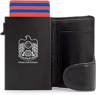 Slim Wallet for man genuine leather with RFID protection | Twist Metal Case Popup Credit card holder Pocket | Black | UAE ...