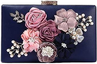 Shoulder Bag Ladies Evening Package Flower Pearl Bride Clutch Fashion Party Bar Appointment Oblique Cross Dress Bag Handbag Clutch (Color : Blue, Size : One Size)
