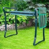 Tabouret de Jardin Pliable Vert - Agenouilloir de Jardin Multifonctions - Tabouret de jardinage avec coussin rembourré pour jardinage