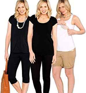 Angel Maternity Nursing Kit: Breastfeeding Clothes, 3 Ultra-Soft Maternity T Shirts for The Nursing Mom