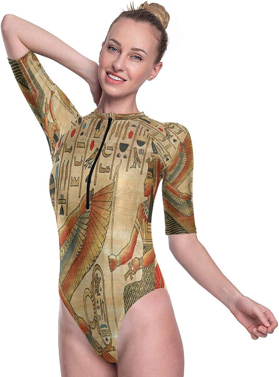 SLHFPX Womens Zip Up Printed Short Sleeve 1 Piece Rash Guard Swimsuit Ancient Egyption Artwork Hieroglyphic Swimwear