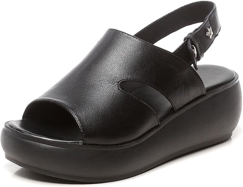 DANDANJIE Damen Sandalen Sport & Freizeitschuhe Breathable Spring & Summer Comfort Flache Ferse Sandalen Leder Soft Turnschuhe (Farbe   Schwarz, Gre   35)