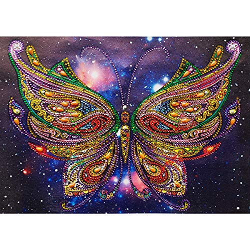 MXJSUA DIY 5D Special Shape Diamond Painting by Number Kit Crystal Rhinestone Round Drill Art Craft Home Wall Decor 12X16In Colored Butterfly