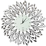 "Lulu Decor, 25"" Vine Decorative Metal Wall Clock, White Glass Lines Dial 9.5"", Crystal Accent Clock Living Room & Bed Room"