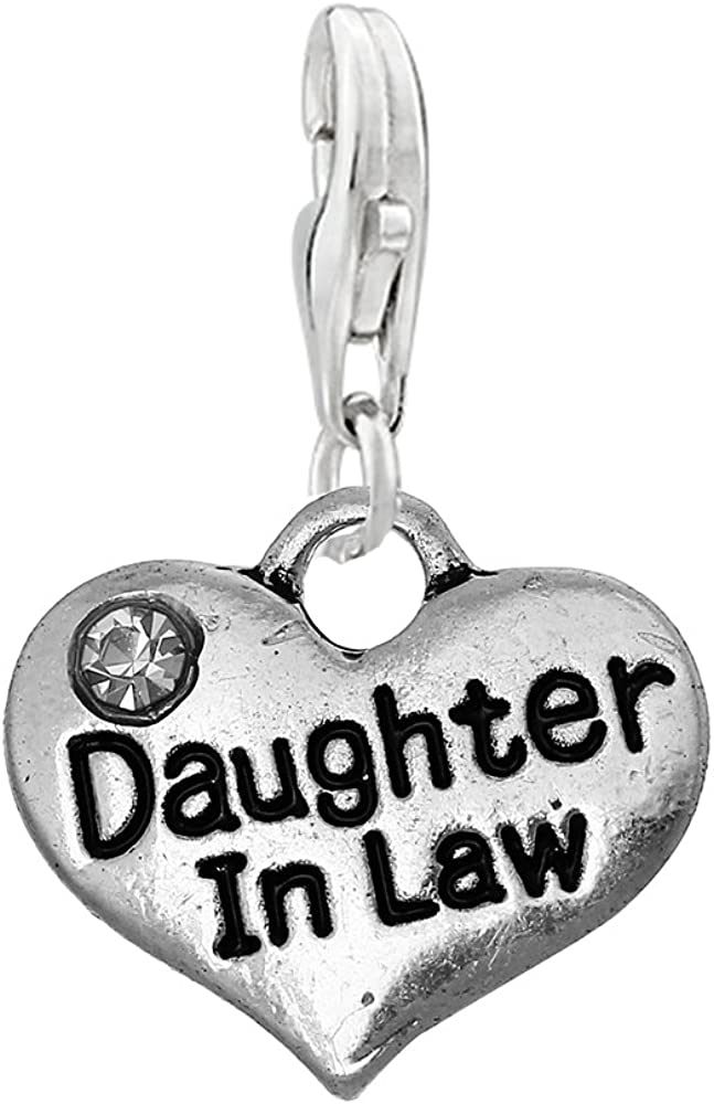 Sexy Sparkles Daughter in Classic Law Heart Br Clip Charm on Some reservation Pendant for
