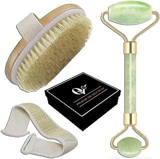 Jade Stone, Loofah Back Scrubber, Natural Fiber Body Brush Set – Ideal for Exfoliating, Scrubbing, Massaging, Toning Facial and Body Skin – Premium Spa Set for Men and Women