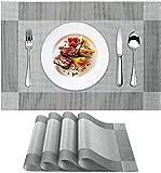 YMERSEN aus PVC (4 Sets), rutschfest, waschbar, hitzebeständig, leicht zu reinigen und aufzubewahren, Platzsets für Küchen, Restaurants und Hotels 702 Schwarz L