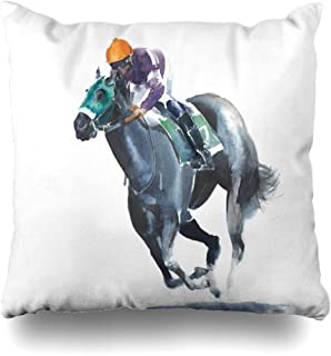 Ahawoso Throw Pillow Covers Watercolor Race Horse Racing Jockey Competition Jumping Black Sports Recreation Drawing Action Home Decor Pillow Case Square Size 20 x 20 Inches Zippered Pillowcase