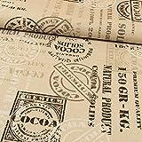 Dekostoff Schriftzüge & Stempeloptik beige -Preis gilt