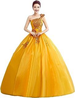 cnstone カラードレス 演奏会用ドレス ウエディングドレス ロング プリンセスライン結婚式 発表会 舞台 大人 シンプル 金色 ゴールド パーティードレス