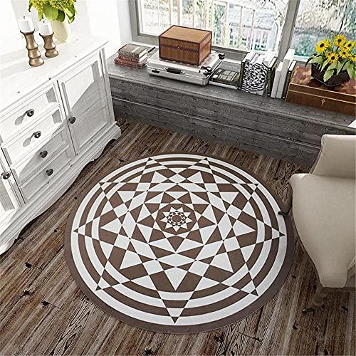 alfombra terraza exterior alfombra para salon Alfombra de la sala de estar Blanco Marrón Suelo redondo MAT no se desvanece y desgaste la resistencia-Color de café $_60x60cm decorar habitacion 60x60cm