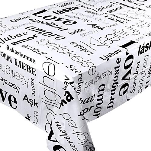 3 Manteles de Plástico 180cmx180cm con Letras Amor Mantel de Mesa Cuadrada Fiesta San Valentín Cumpleaños Boda Decoración Comedor de Mesa Blanco Negro