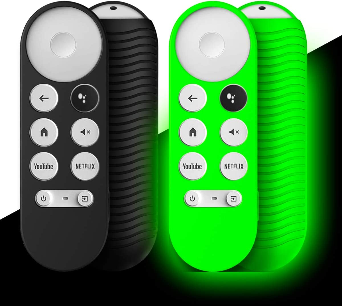 [2-Pack] Silicone Cover for Chromecast Google TV 2020 Voice Remote, WQNIDE Protective Shockproof Anti-Lost Remote with Lanyard (Black and Glowing Green)