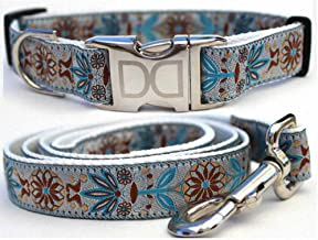 "product image for Diva-Dog 'Boho Morocco' Custom 1"" Wide Dog Collar with Plain or Engraved Buckle, Matching Leash Available - M/L, XL"