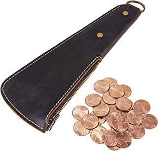 EASYANT Leather Coin Purse Mens Handmade Card Package Outdoor Wallet EDC Tool-Black