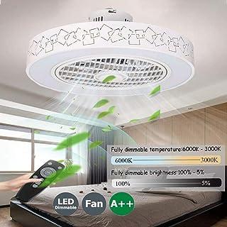 Ventiladores De Techos Con Iluminación Remoto Control Regulable Velocidad Del Viento Ajustable LED Ventilador De Techo Infantil,80W Silenciosa Invisible Ventilador De Techo Sin Aspas,50cm(b)