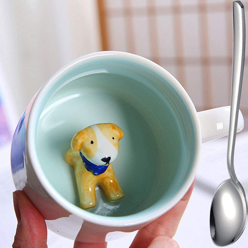 2 Don't miss the campaign Pcs Coffee Mugs Hot Albuquerque Mall Drinks Figurine Teacup Dog Porcelain White