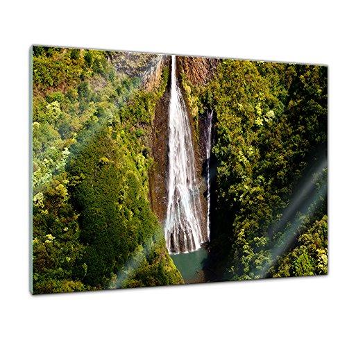 Glasbild - Manawaiopuna Wasserfall in Kauai - USA - 80x60 cm - Deko Glas - Wandbild aus Glas - Bild auf Glas - Moderne Glasbilder - Glasfoto - Echtglas - kein Acryl - Handmade