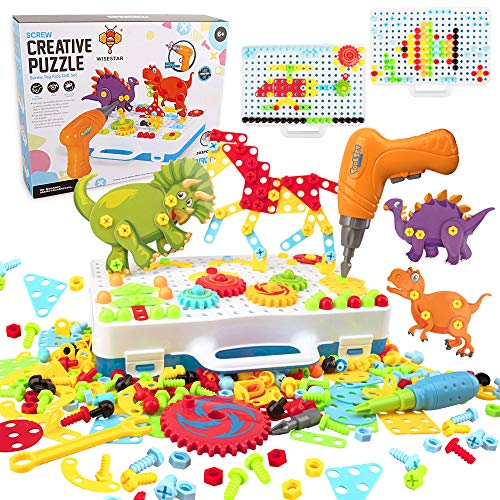 WISESTAR 303PCS電動ドリルおもちゃ ネジ 大工さんセット STEM 立体 恐竜 パズル 収納ボックス付き 知育玩具 クリスマス 誕生日 プレゼント 男の子 DIY ツールボックス カラフル  6歳以上の子供向け