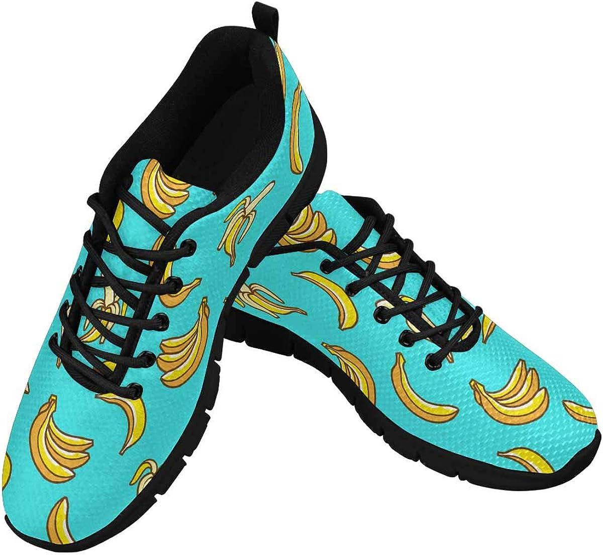 InterestPrint Pattern Bananas Cute Style Women's Walking Shoes Lightweight Casual Running Sneakers