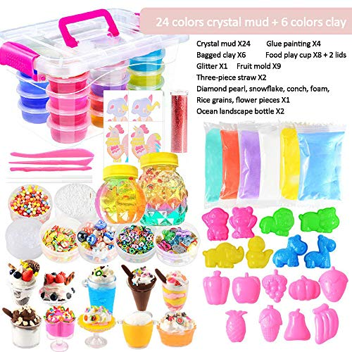 GFQTTY DIY Slime Kit, Ultimate Gift Slime Kit with Storage Box, Best Choice for 6 7 8 9 10 11 12 Years Old Girl and Boy Best Choice,C