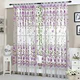 Norbi French Window Curtain Tulle Room Window Curtain Printed Peony Sheer Curtains Panels Bedroom Kitchen Home Decoration(100x200 cm,Purple)
